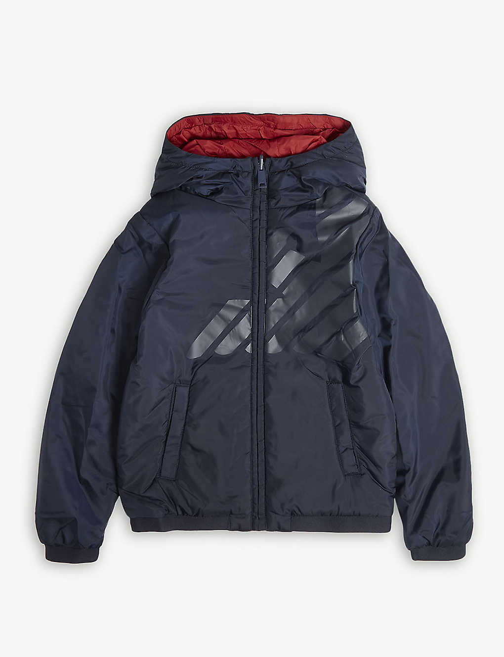 EMPORIO ARMANI - Logo reversible hooded puffer coat 4-16 years ... ee75c84eb3d08