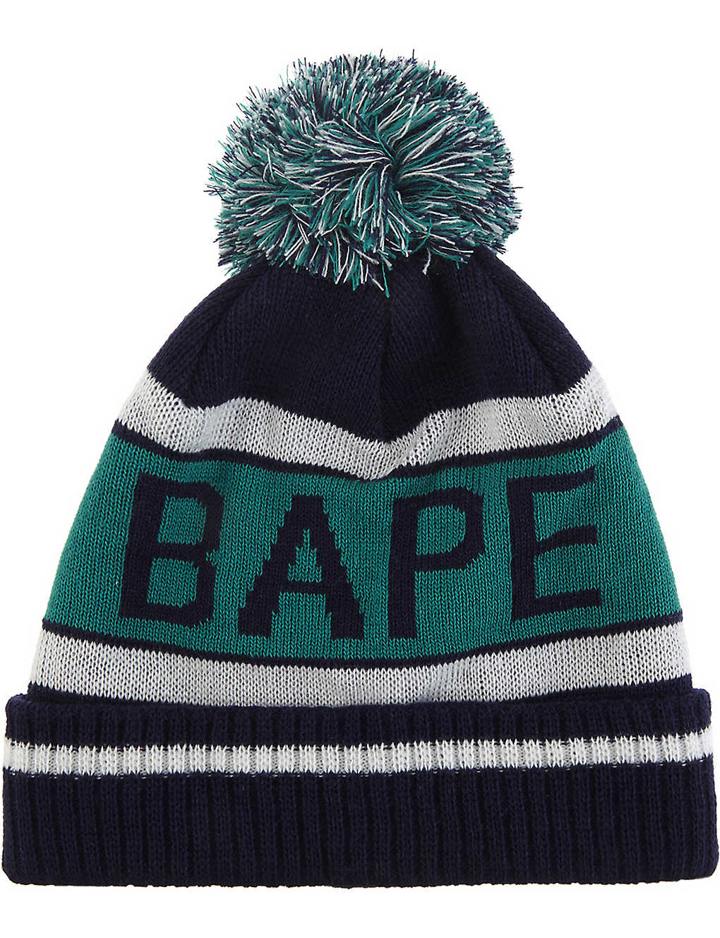 3a4b9ca4785 A BATHING APE - Logo knitted bobble hat