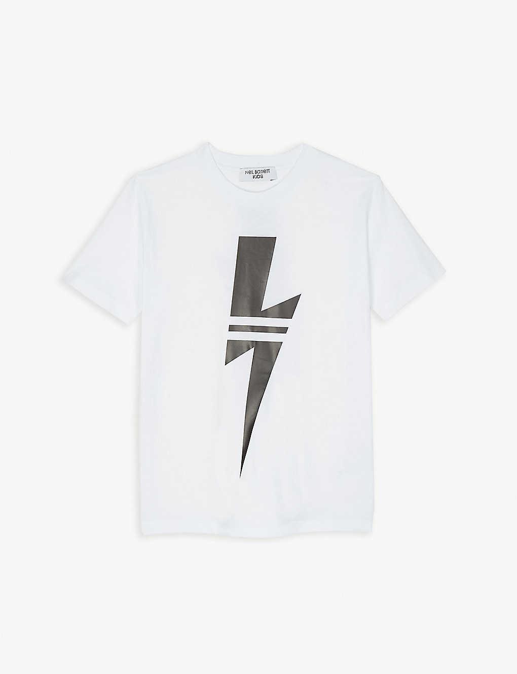 9e6263d2 NEIL BARRETT - Striped lightning bolt cotton T-shirt 4-14 years ...