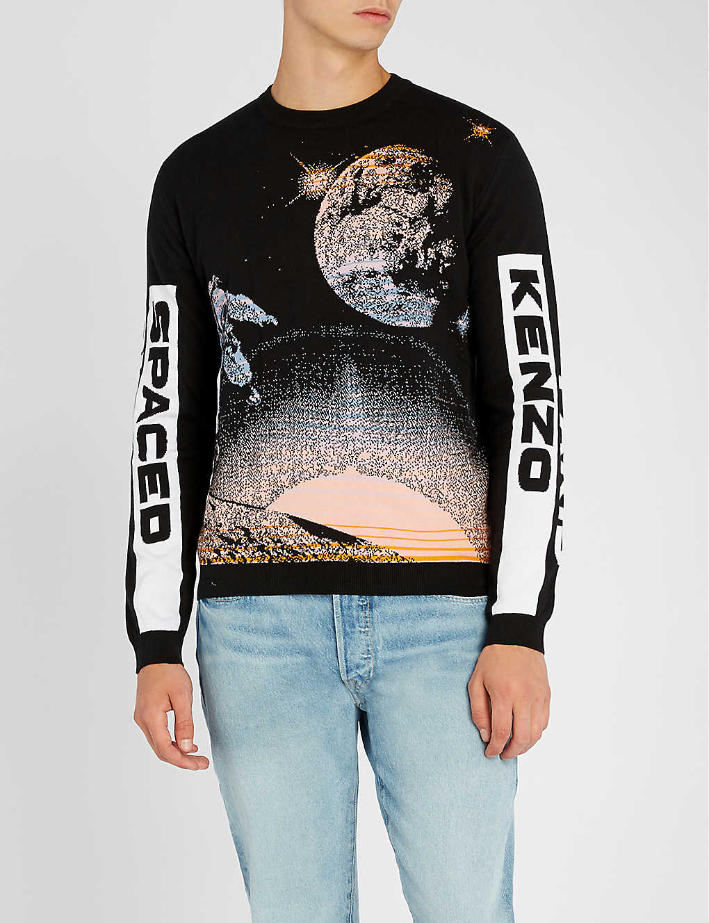 c2deaf1a2 KENZO - Logo intarsia-knit cotton and wool-blend sweater ...