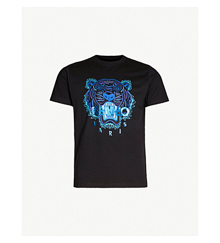 a9875bc03a KENZO - Metallic tiger-embroidered cotton-jersey T-shirt ...