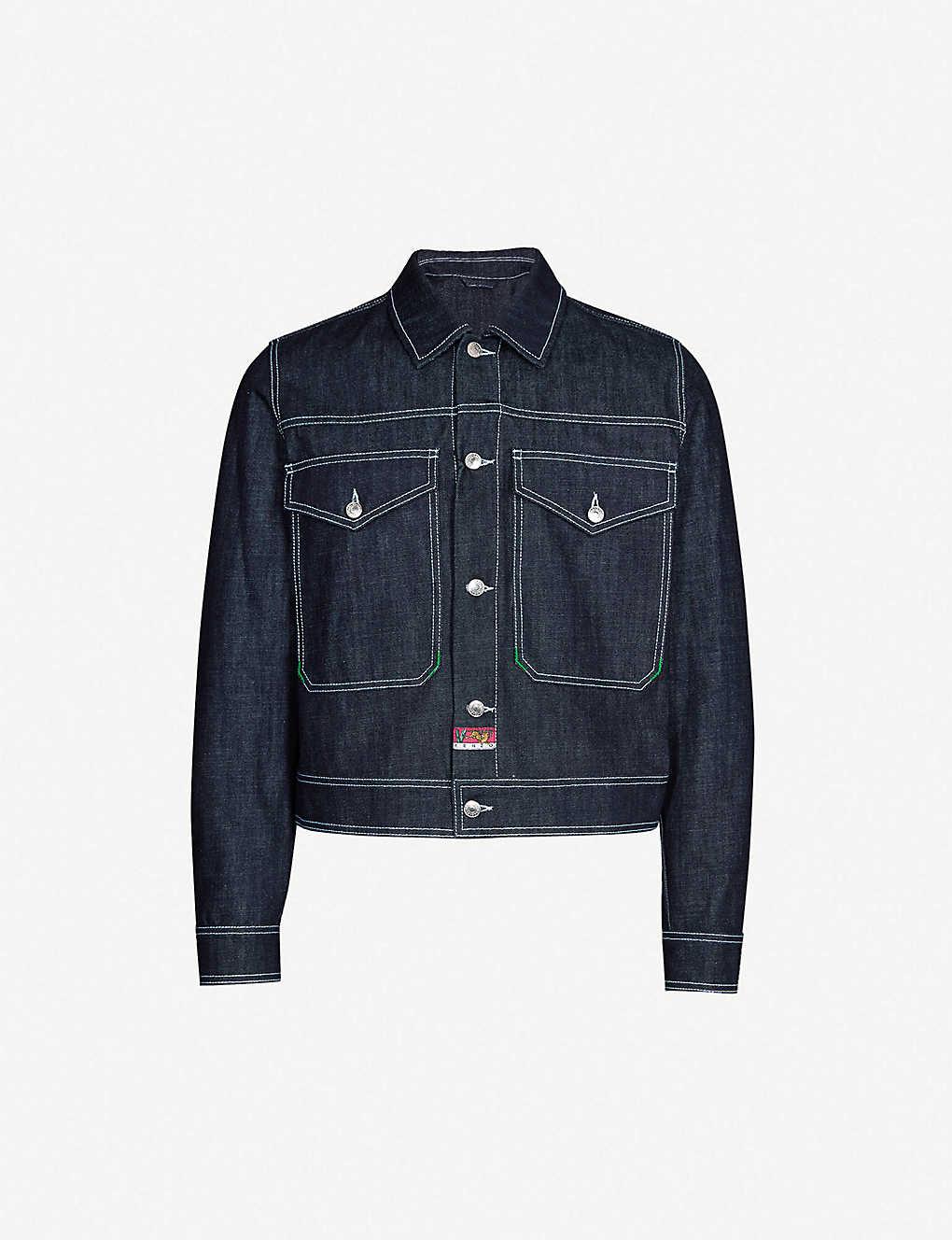 067fd4a47c KENZO - Tiger-embroidered denim trucker jacket