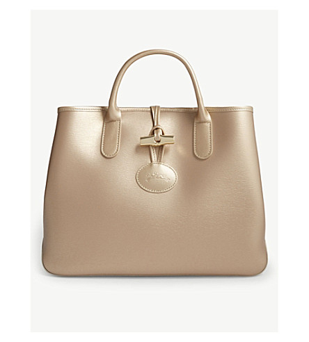 5be56a47c0be ... LONGCHAMP Roseau medium metallic leather tote bag (Pink+gold.  PreviousNext
