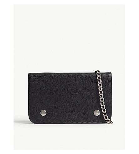 91fae98348c2 ... LONGCHAMP Le Foulonné leather wallet with chain (Noir. PreviousNext