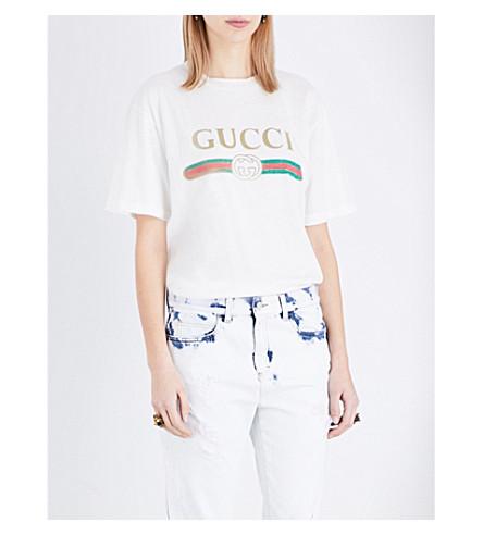 e9ae62ea56736 ... GUCCI Logo-print cotton-jersey t-shirt (Natural+white+prt. PreviousNext