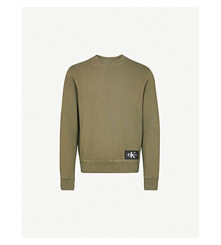 9fa3a1372fe3 ... CALVIN KLEIN JEANS Logo-embroidered cotton-jersey sweatshirt  (Grape+leaf. PreviousNext