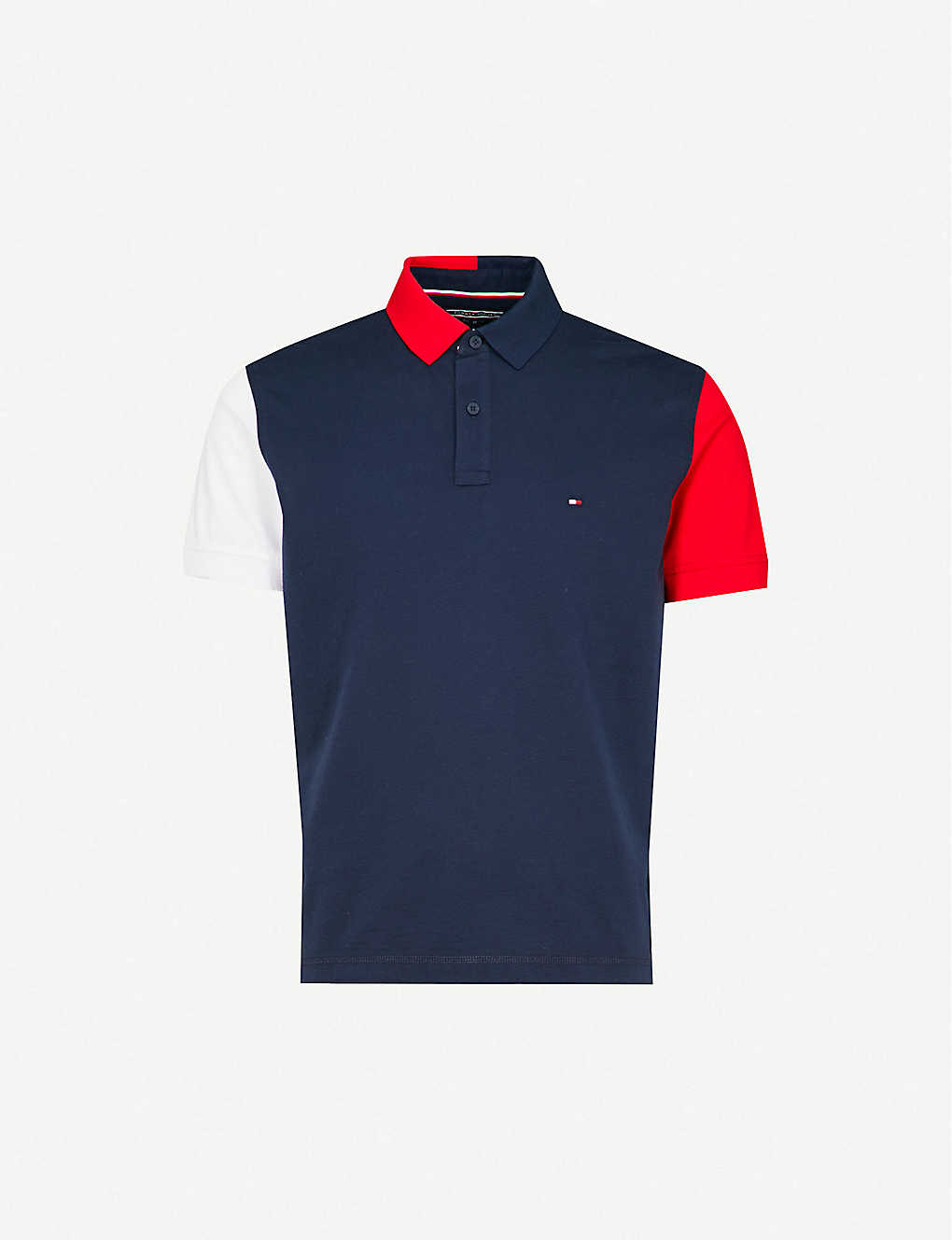 109e565190c6ef TOMMY HILFIGER - Colour-block cotton polo shirt