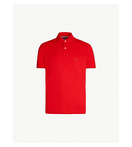 f00b7a8920343 ... TOMMY HILFIGER Logo-embroidered cotton-piqué polo shirt (Haute red.  PreviousNext