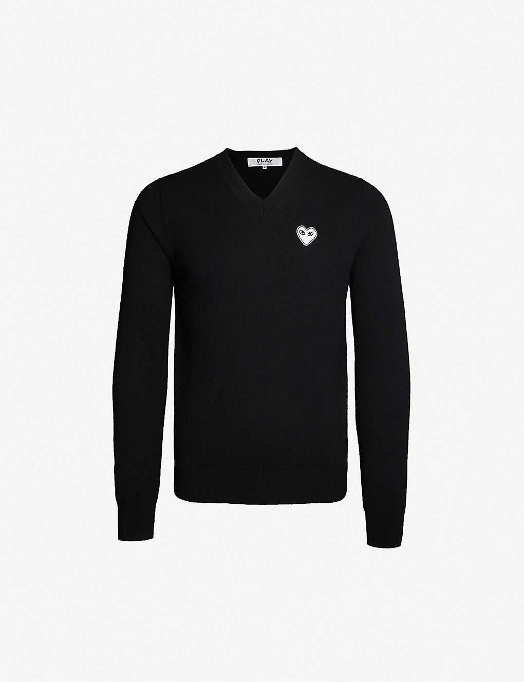 bdf6b111b19d COMME DES GARCONS PLAY - Heart-appliqué wool jumper