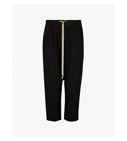Drawstring Relaxed Fit Cropped Wool Trousers by Rick Owens