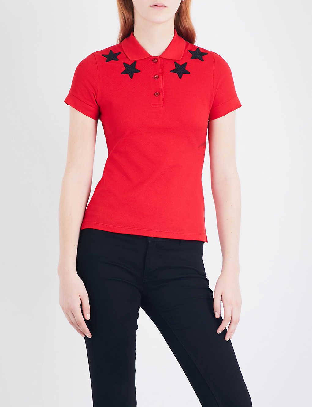 e08fd6512b095 GIVENCHY - Star-embroidered cotton-piqué polo top