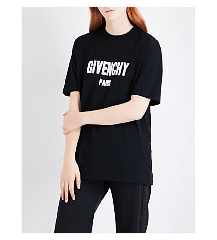 d8d73752480bb ... GIVENCHY Distressed logo-print cotton-jersey T-shirt (Black.  PreviousNext