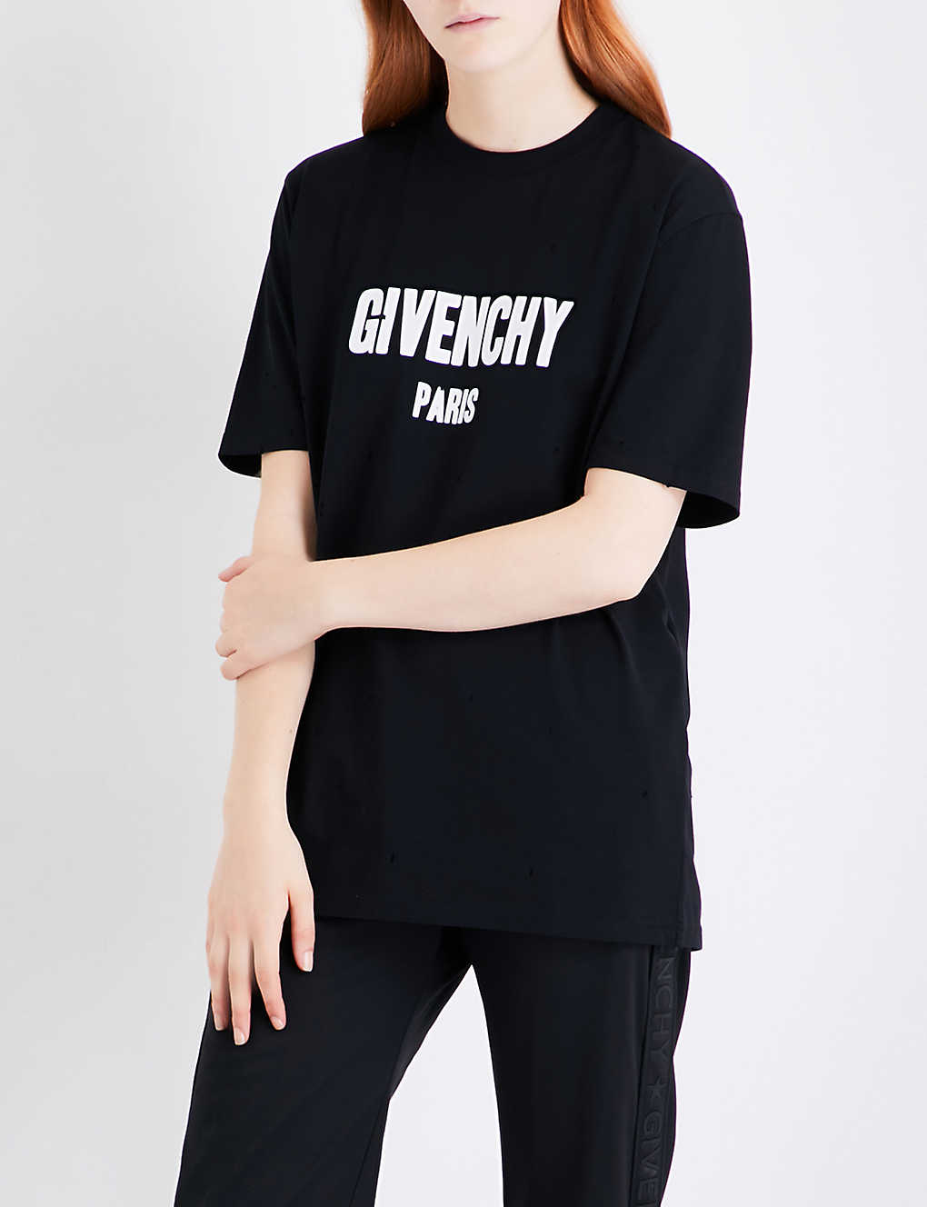 Fabulous GIVENCHY - Distressed logo-print cotton-jersey T-shirt  KW53