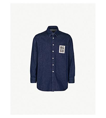 67233d48b41 ... RAF SIMONS Regular-fit logo-patch denim shirt (Navy. PreviousNext