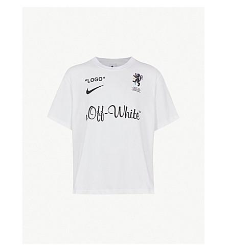 ... NIKE X OFF-WHITE Logo-print cotton-jersey T-shirt (White. PreviousNext a00e8a57d