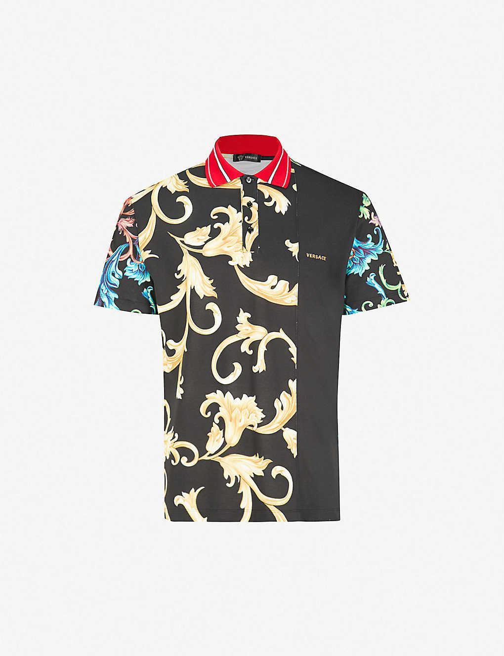 1e7c6a00dc71 VERSACE - Baroque-print cotton-piqué polo shirt