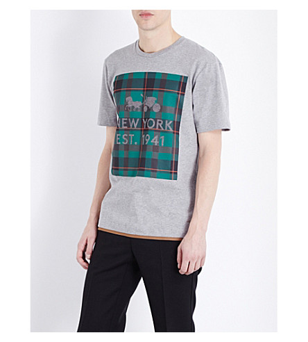 COACH 1941 - Plaid-print cotton t-shirt  040f0d78ee0