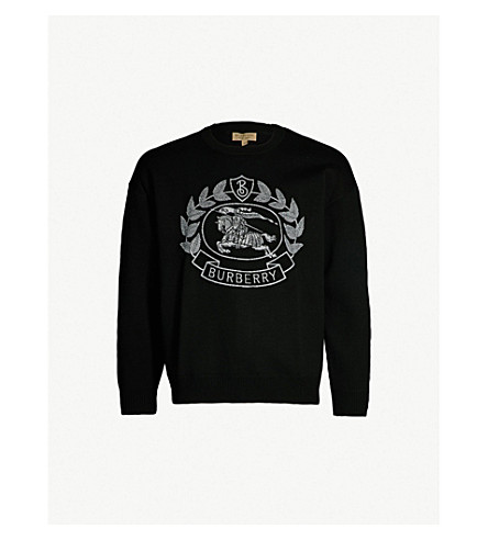 Logo Embroidered Wool Jumper by Burberry