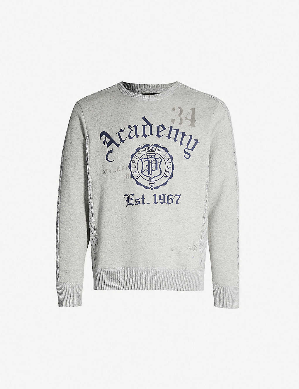 POLO RALPH LAUREN - Academy-print cable-knit panel stretch-jersey ... 74a03cd43281b