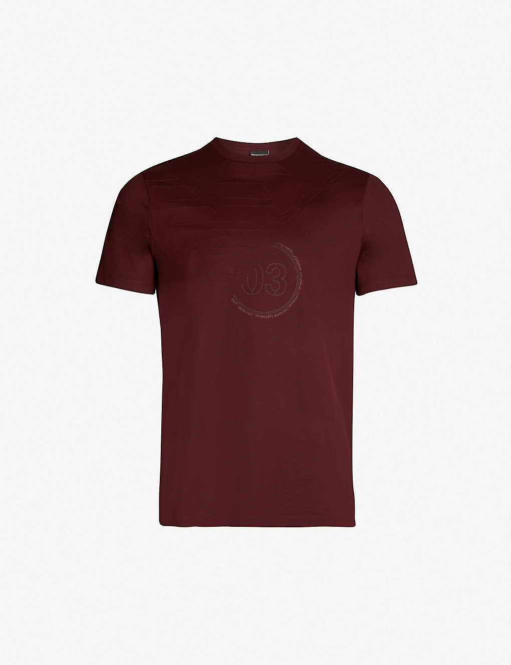 EMPORIO ARMANI - Eagle-embossed cotton-jersey T-shirt  022a1c4dcdbe0