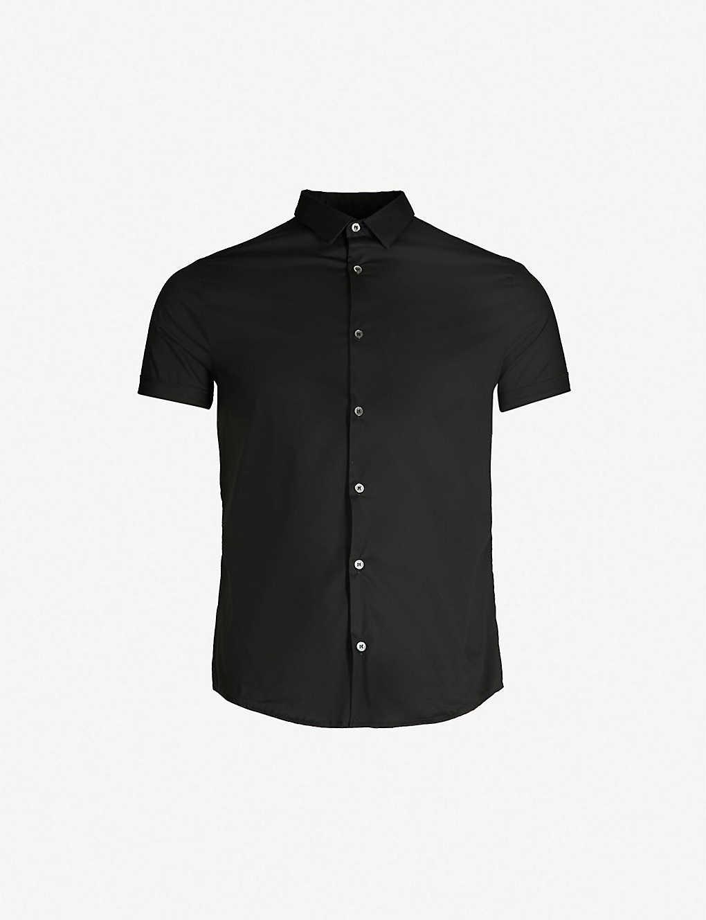 EMPORIO ARMANI - Slim-fit cotton-blend short sleeves shirt ... 7923a5e60b8df