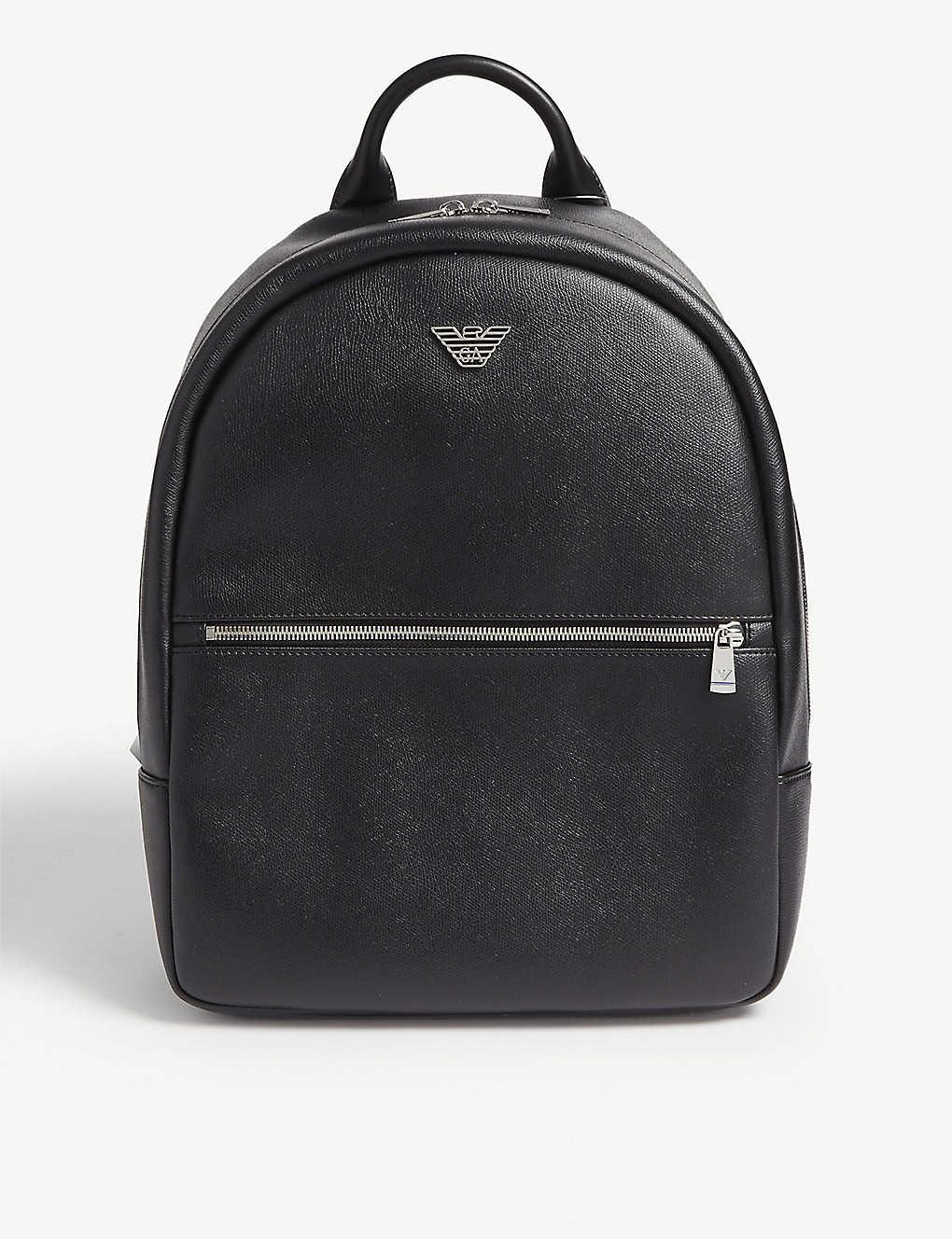 EMPORIO ARMANI - Logo-appliquéd faux-leather backpack  2c5568ee3f104