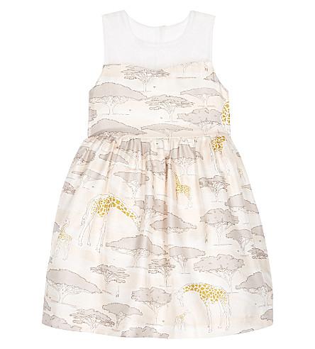 58be04af04 HUCKLEBONES - Giraffe print silk dress 4-10 years