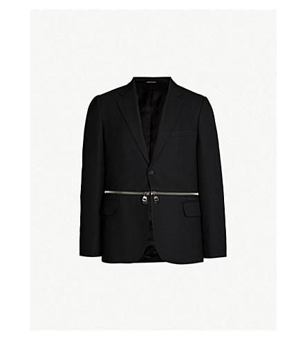 Notch Lapel Zip Detail Wool Blend Jacket by Alexander Mcqueen