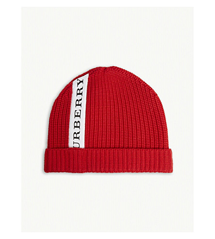 0eb8ecd0b914 BURBERRY - Logo stripe wool beanie hat