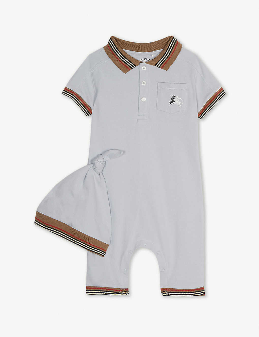 BURBERRY - Striped cotton babygrow and hat set 1-12 years ... 11ad0185e499