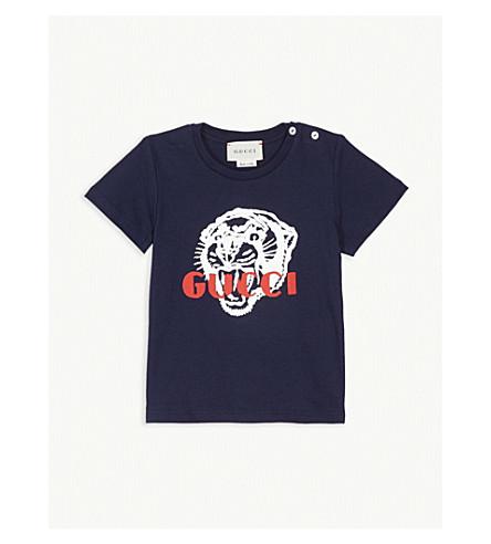 b5f675076770 GUCCI - Tiger logo cotton T-shirt 3-36 months