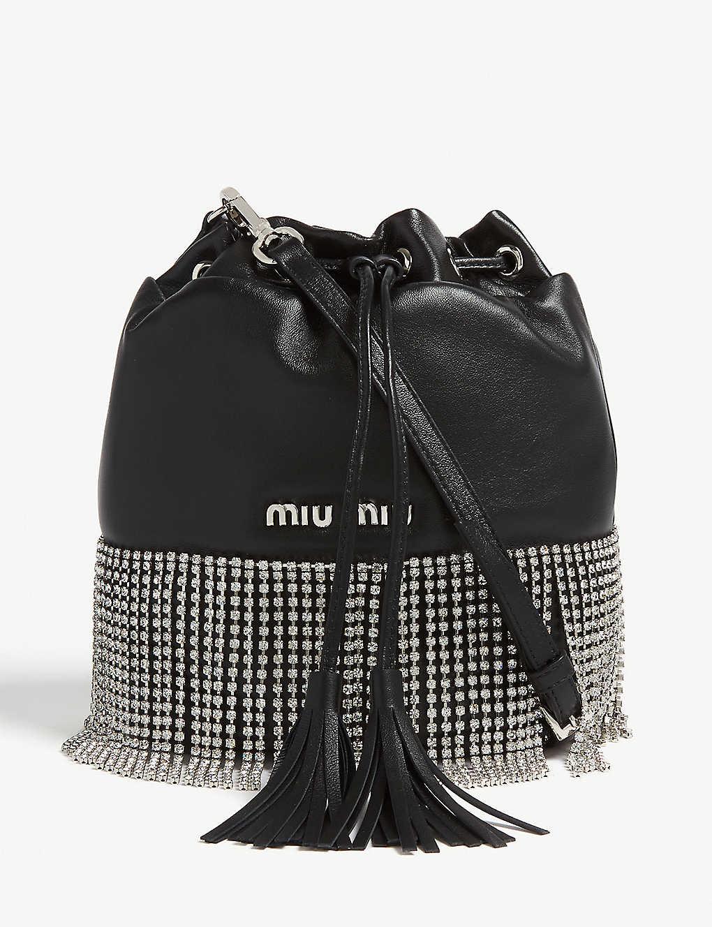 90df44b60aa MIU MIU - Crystal fringe leather bucket bag