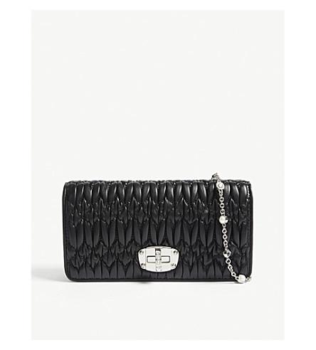 e3c56b74d0b0 ... MIU MIU Mini Bandoliera leather wallet (Black. PreviousNext