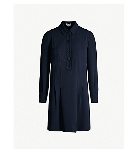 Scalloped Detail Crepe Shirt Dress by Claudie Pierlot