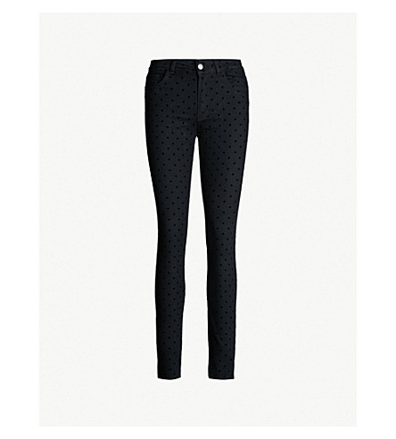 Patiente Velvet Polka Dot Skinny High Rise Jeans by Claudie Pierlot