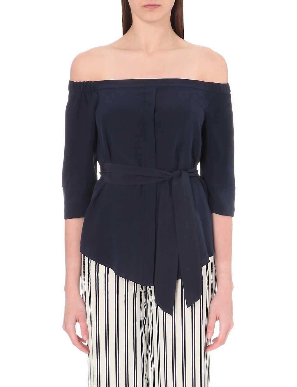 9af9049d69b10 WHISTLES - Flavia off-the-shoulder silk top