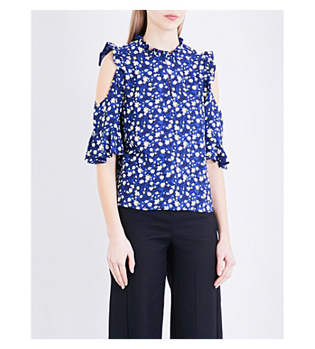 b9d9867932cad6 WHISTLES - Bibi floral-print cold-shoulder woven top