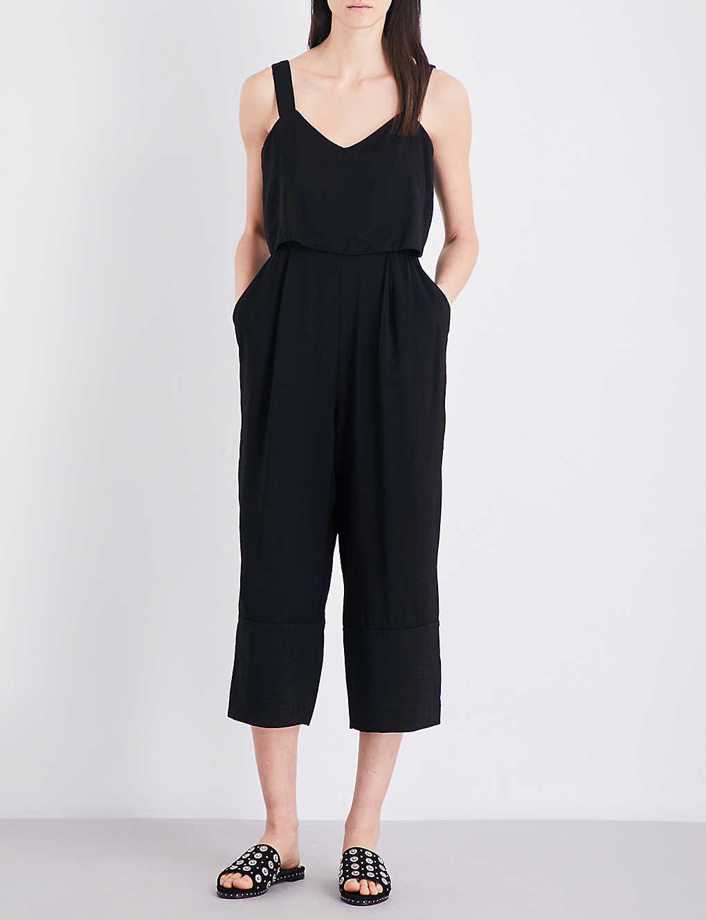 1361a272db4 WHISTLES - Lucy tiered wide-leg woven jumpsuit