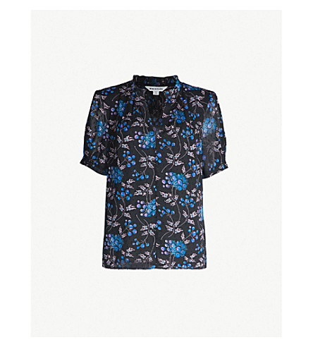 Dobby Elderberry Floral Print Crepe Top by Whistles