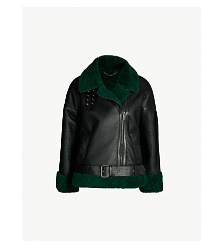 Contrast Shearling Lined Leather Jacket by Whistles