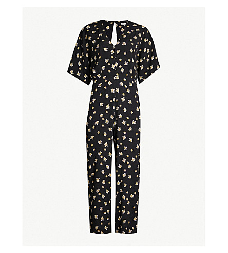 584fe48d1786 ... WHISTLES Edelweiss floral-print crepe jumpsuit (Black. PreviousNext