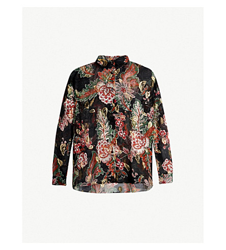 Bollywood Metallic Floral Print Silk Blend Shirt by The Kooples