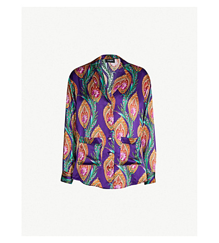 Paisley Print Silk Satin Shirt by The Kooples