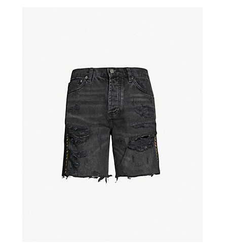 Embellished High Rise Denim Shorts by The Kooples