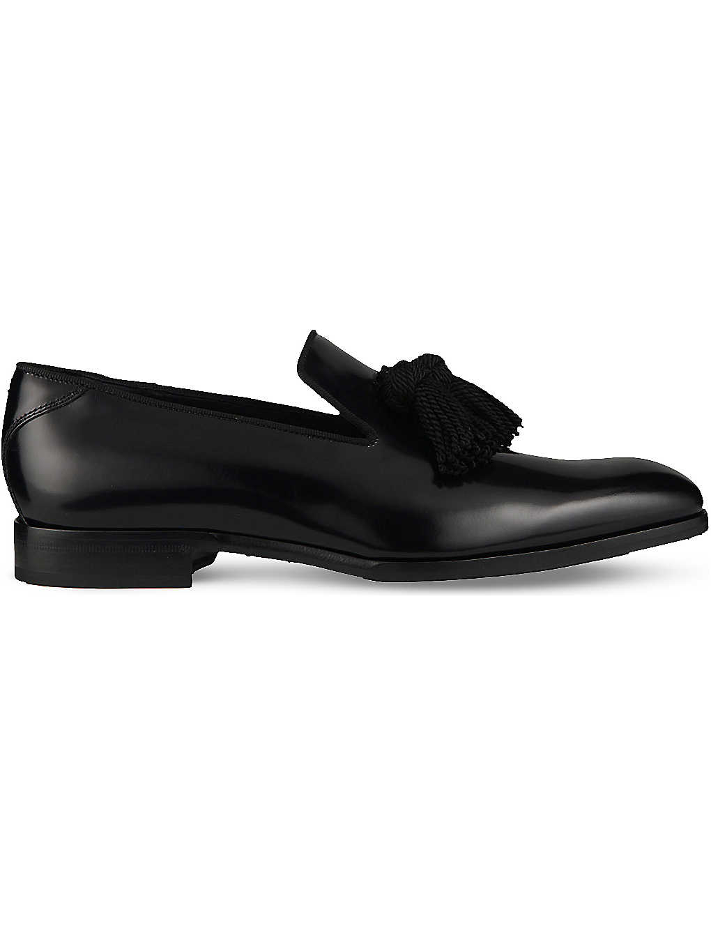 8a49180ff31 JIMMY CHOO - Foxley tassel calf leather and satin loafers ...