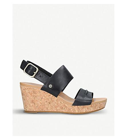 9e9b7301f029 ... UGG Elena II leather wedge sandals (Black. PreviousNext