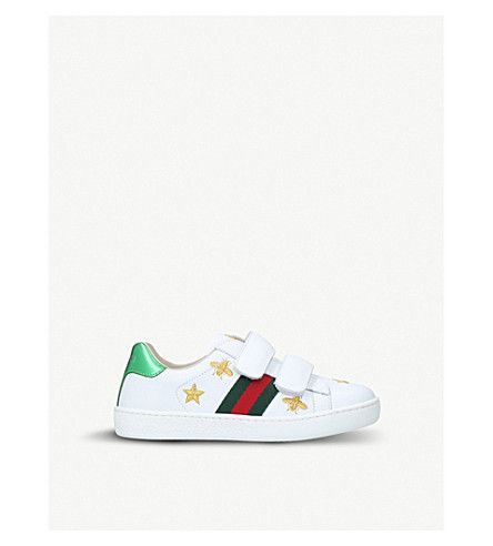 2c2ff072dec ... GUCCI New Ace bee-embroidered leather trainers (White oth. PreviousNext