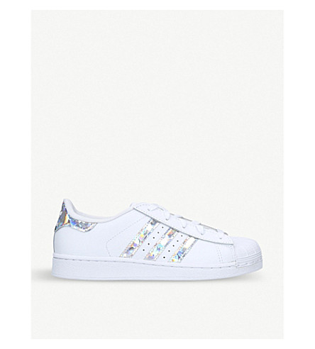 952371c9512b ADIDAS - Superstar iridescent-stripe leather trainers 6-8 years ...