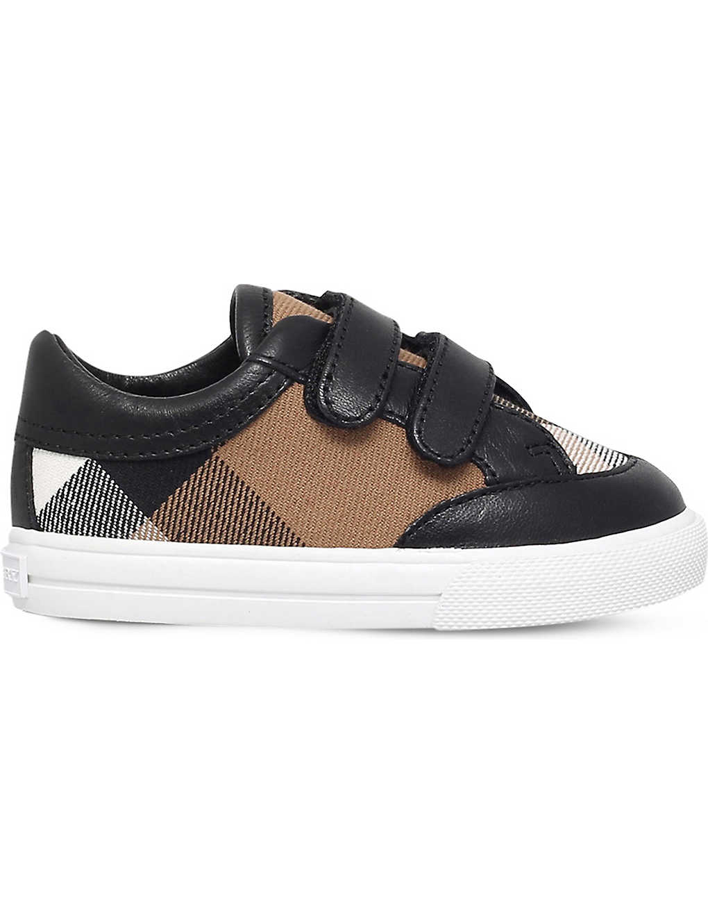 fa055580a878 BURBERRY - Heacham check-print canvas and leather trainers 8-11 ...