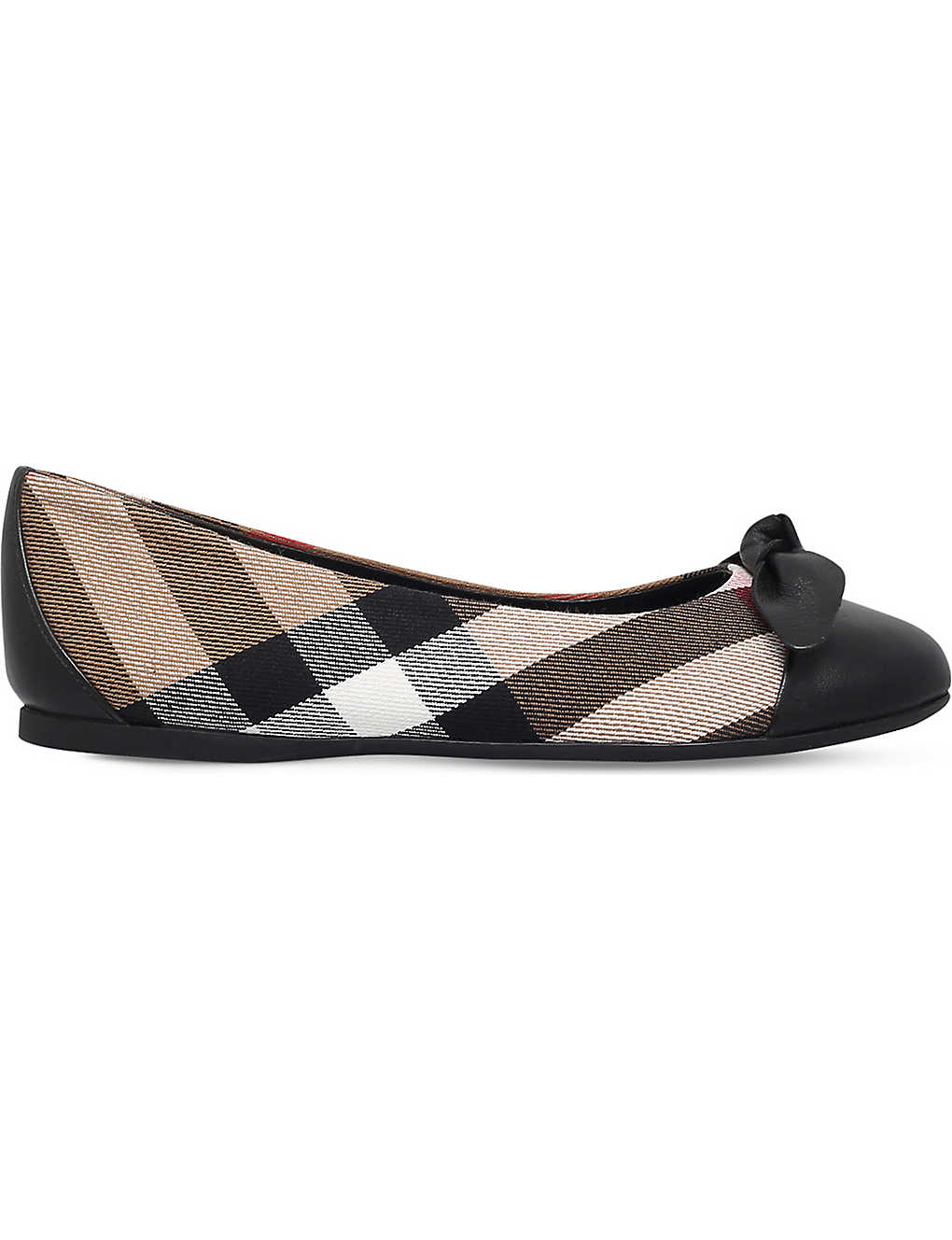 895dd64a41cc BURBERRY - Yaxley checked canvas and leather flats 5-9 years ...